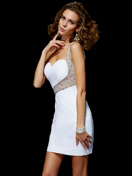 A-Line/Princess Chiffon One-Shoulder Short/Mini Sequin Sleeveless Cocktail Dresses