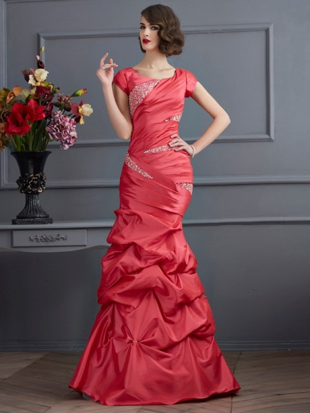 Trumpet/Mermaid Taffeta Scoop Floor-Length Beading Short Sleeves Dresses