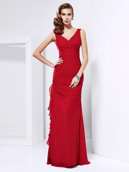Sheath/Column Chiffon V-neck Floor-Length Ruched Sleeveless Dresses