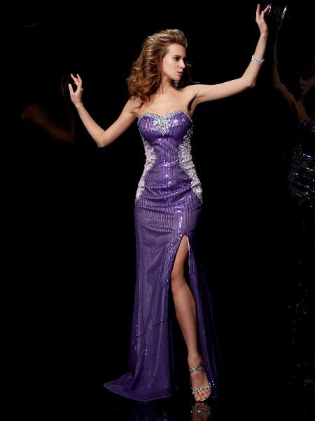 Sheath/Column Elastic Woven Satin Lace Sequins Sweetheart Sweep/Brush Train Beading Sleeveless Dresses