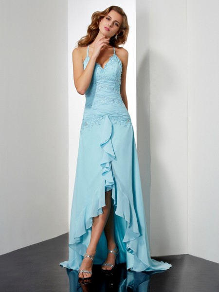 A-Line/Princess Chiffon Spaghetti Straps Asymmetrical Beading Crystal Sleeveless Dresses