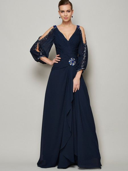 A-Line/Princess Chiffon V-neck Floor-Length Beading Long Sleeves Dresses