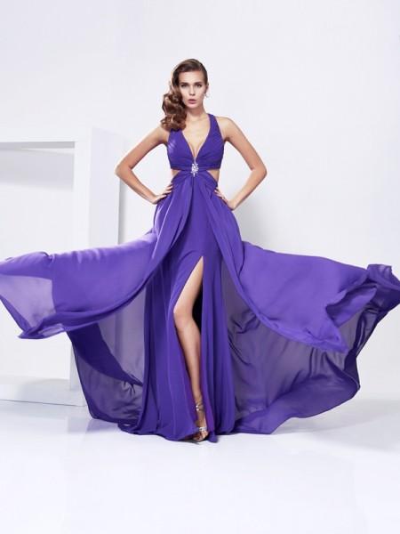 A-Line/Princess Chiffon V-neck Sweep/Brush Train Rhinestone Sleeveless Dresses