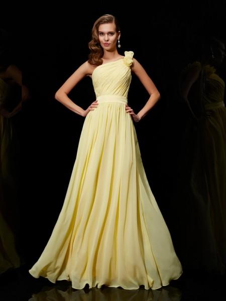 A-Line/Princess Chiffon One-Shoulder Floor-Length Hand-Made Flower Sleeveless Bridesmaid Dresses