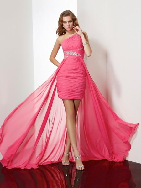 Sheath/Column Chiffon One-Shoulder Short/Mini Beading Sleeveless Cocktail Dresses