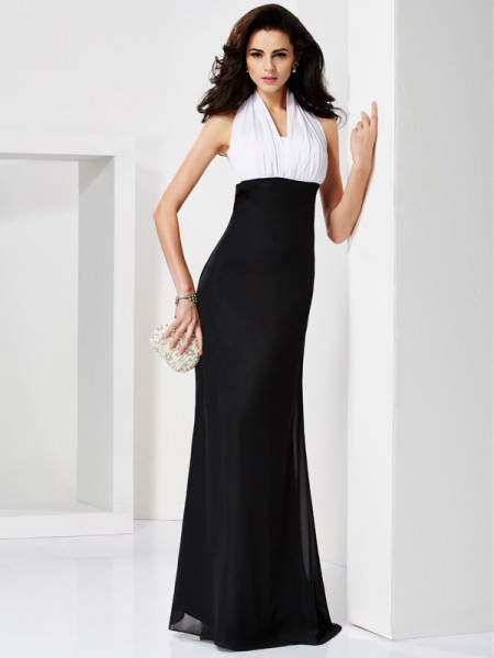 Trumpet/Mermaid Chiffon Halter Floor-Length Pleats Sleeveless Dresses