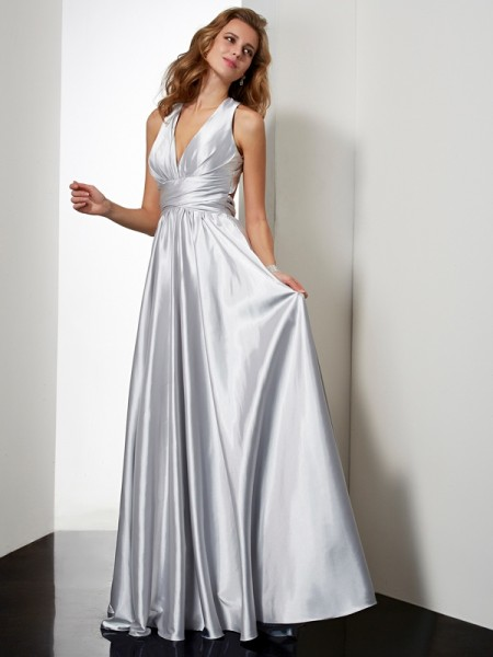 Sheath/Column Elastic Woven Satin Halter Floor-Length Pleats Sleeveless Dresses