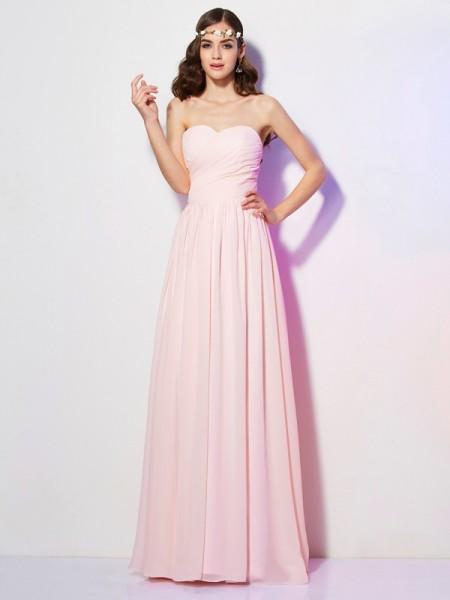 A-Line/Princess Chiffon Sweetheart Floor-Length Pleats Sleeveless Dresses