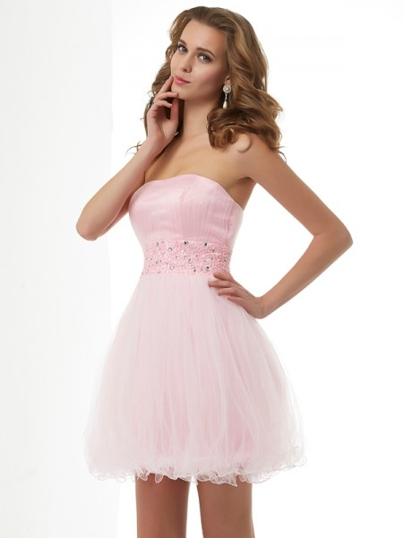 Sheath/Column Elastic Woven Satin Net Sweetheart Short/Mini Beading Sleeveless Cocktail Dresses
