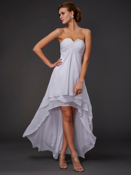 A-Line/Princess Chiffon Sweetheart Asymmetrical Ruffles Sleeveless Dresses
