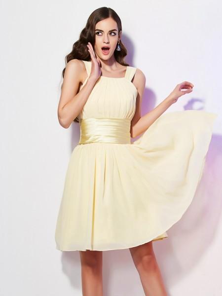 A-Line/Princess Chiffon Straps Short/Mini Pleats Sleeveless Dresses