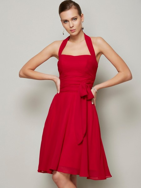 A-Line/Princess Chiffon Halter Knee-Length Pleats Bowknot Sleeveless Dresses