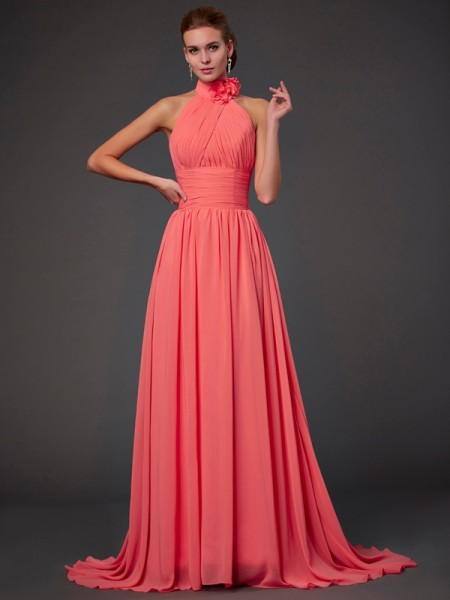 A-Line/Princess Chiffon Halter Sweep/Brush Train Hand-Made Flower Sleeveless Bridesmaid Dresses