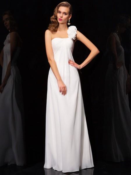 A-Line/Princess Chiffon One-Shoulder Floor-Length Pleats Hand-Made Flower Sleeveless Dresses