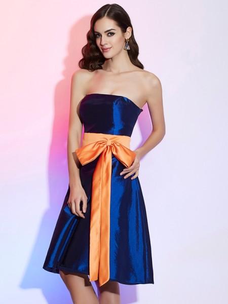 A-Line/Princess Taffeta Strapless Knee-Length Sash/Ribbon/Belt Sleeveless Bridesmaid Dresses