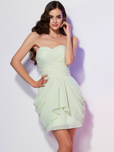 A-Line/Princess Chiffon Sweetheart Short/Mini Pleats Sleeveless Dresses