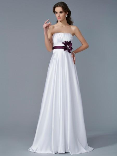 A-Line/Princess Satin Strapless Sweep/Brush Train Hand-Made Flower Sleeveless Dresses