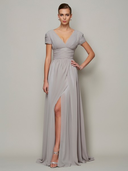 A-Line/Princess Chiffon V-neck Floor-Length Short Sleeves Evening Dresses