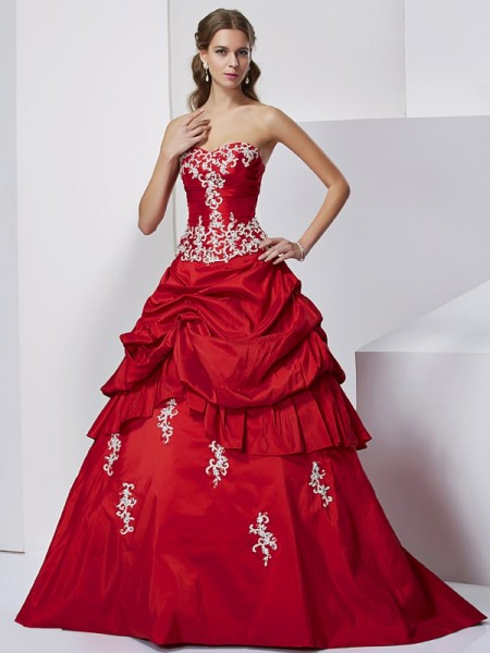 Ball Gown Taffeta Sweetheart Floor-Length Beading Applique Sleeveless Formal Dresses