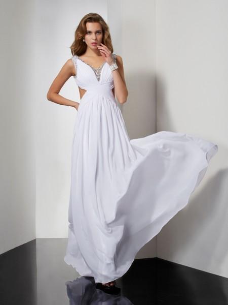 A-Line/Princess Chiffon Straps Floor-Length Beading Sleeveless Dresses