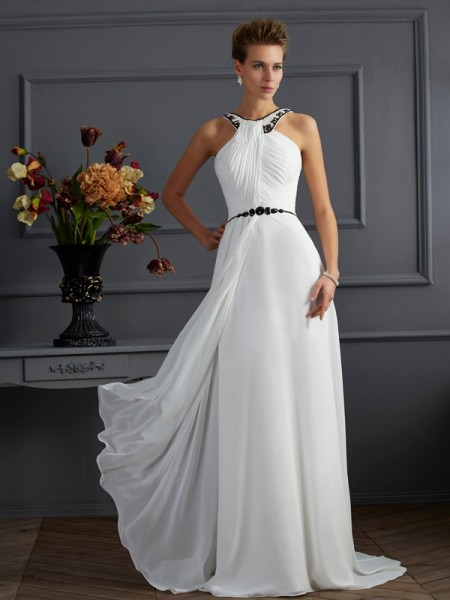 A-Line/Princess Chiffon High Neck Sweep/Brush Train Beading Sleeveless Dresses