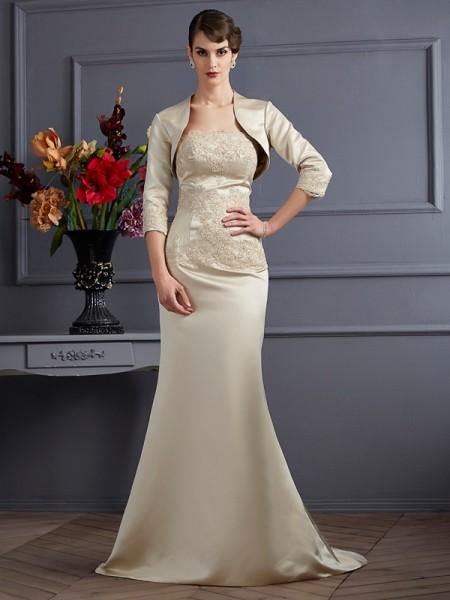 Trumpet/Mermaid Satin Strapless Sweep/Brush Train Applique Sleeveless Mother of the Bride Dresses
