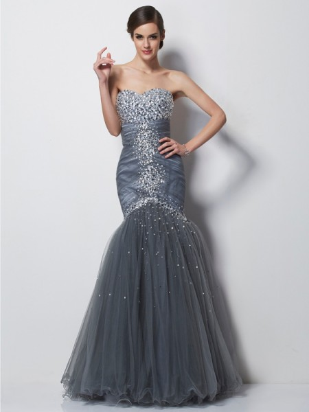 Trumpet/Mermaid Net Satin Sweetheart Floor-Length Beading Sleeveless Dresses