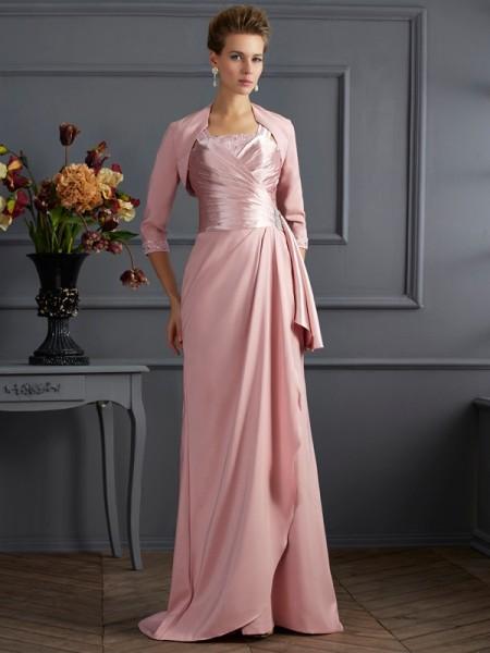 Sheath/Column Elastic Woven Satin Straps Sweep/Brush Train Sleeveless Mother of the Bride Dresses