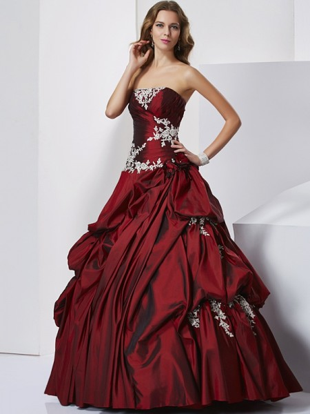 Ball Gown Taffeta Sweetheart Floor-Length Beading Sleeveless Prom Dresses