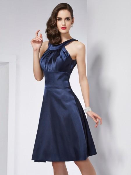 A-Line/Princess Elastic Woven Satin Scoop Knee-Length Pleats Sleeveless Dresses