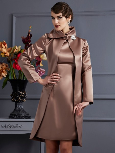 Sheath/Column Satin High Neck Knee-Length Sleeveless Formal Dresses