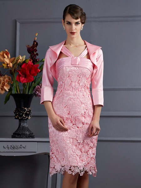 Sheath/Column Elastic Woven Satin Halter Knee-Length Lace Sleeveless Dresses