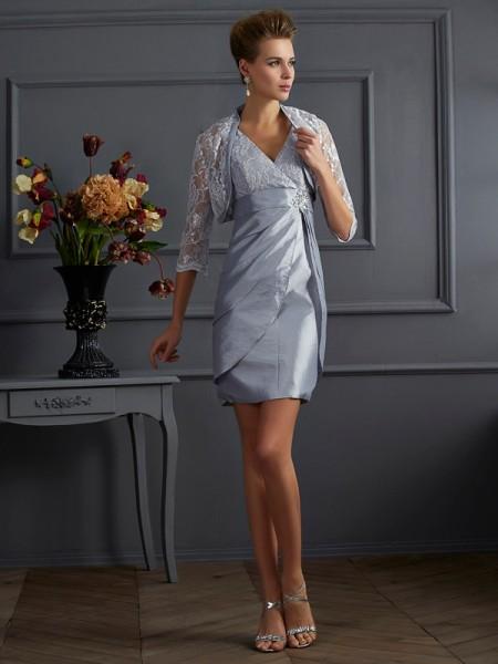 Sheath/Column Taffeta V-neck Short/Mini Sleeveless Cocktail Dresses