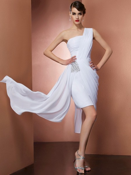 Sheath/Column Chiffon One-Shoulder Short/Mini Pleats Beading Sleeveless Cocktail Dresses