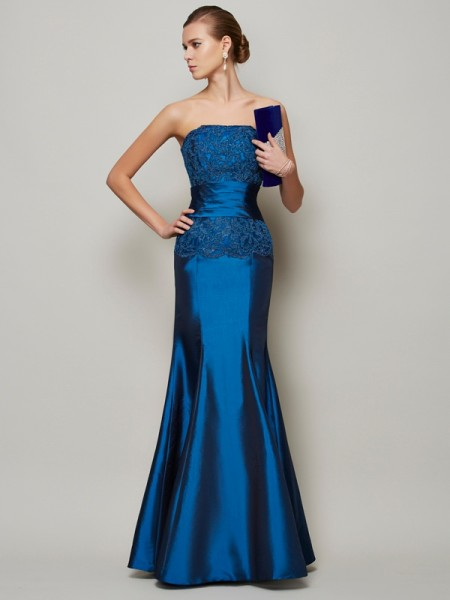 Trumpet/Mermaid Taffeta Strapless Floor-Length Beading Applique Sleeveless Dresses