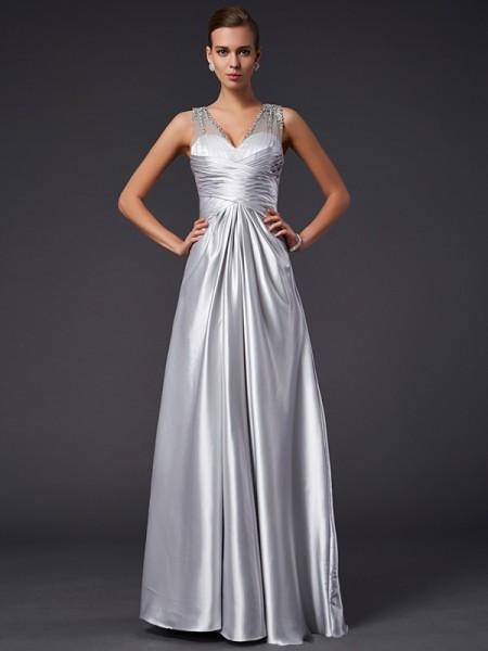 A-Line/Princess Elastic Woven Satin V-neck Floor-Length Beading Sleeveless Dresses