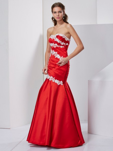 Trumpet/Mermaid Chiffon Sweetheart Floor-Length Applique Sleeveless Dresses