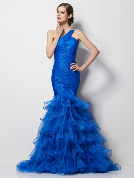 Trumpet/Mermaid Tulle One-Shoulder Sweep/Brush Train Pleats Sleeveless Dresses