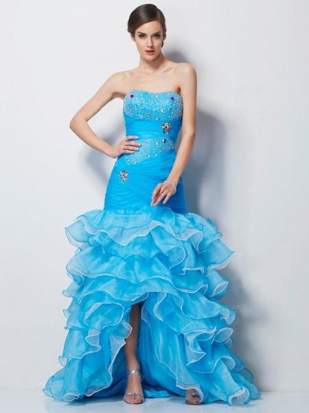 Trumpet/Mermaid Tulle Sweetheart Asymmetrical Beading Sleeveless Dresses
