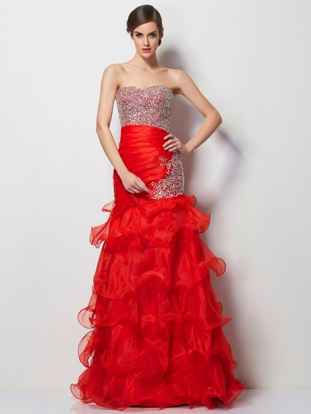 Trumpet/Mermaid Tulle Sweetheart Floor-Length Beading Sleeveless Dresses
