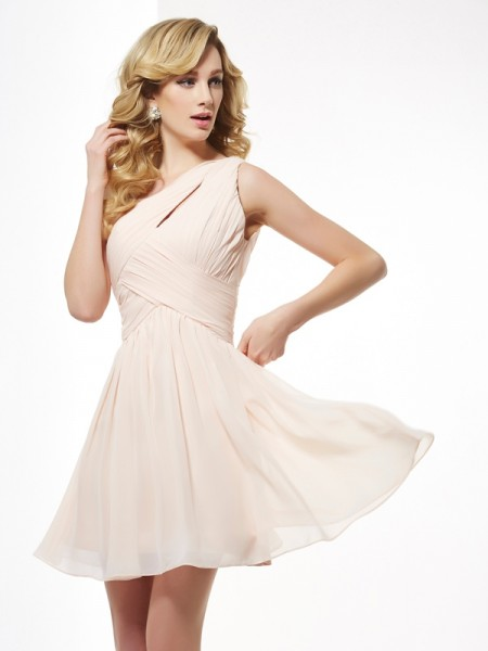 A-Line/Princess Chiffon One-Shoulder Short/Mini Pleats Sleeveless Cocktail Dresses