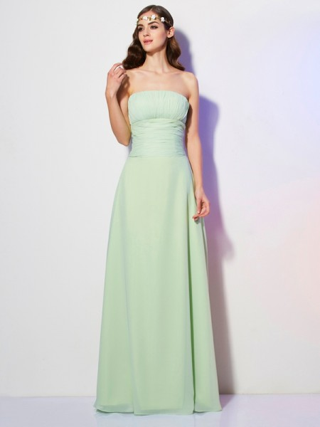 A-Line/Princess Chiffon Strapless Floor-Length Pleats Sleeveless Dresses