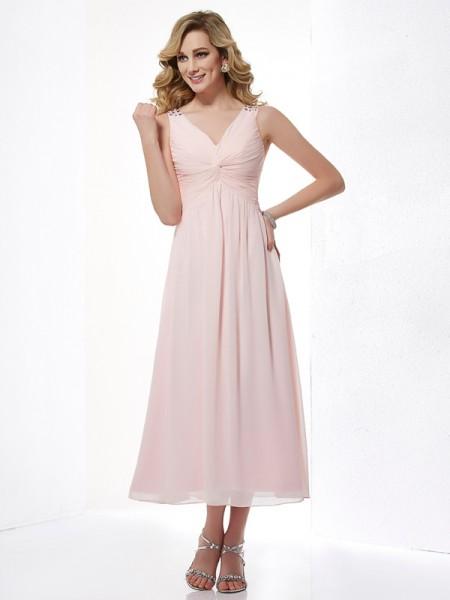 A-Line/Princess Chiffon V-neck Tea-Length Pleats Beading Sleeveless Dresses