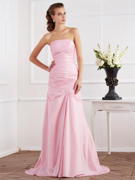 Trumpet/Mermaid Taffeta Strapless Sweep/Brush Train Beading Sleeveless Dresses