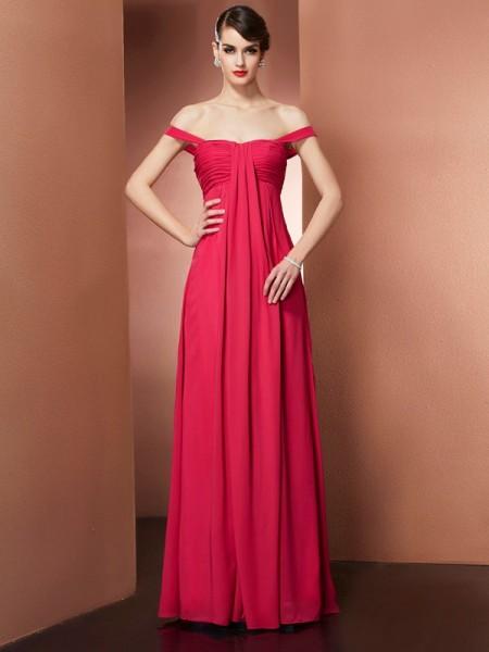 A-Line/Princess Chiffon Off-the-Shoulder Floor-Length Beading Sleeveless Dresses