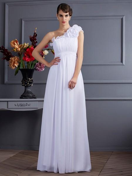 A-Line/Princess Chiffon One-Shoulder Floor-Length Pleats Applique Sleeveless Dresses