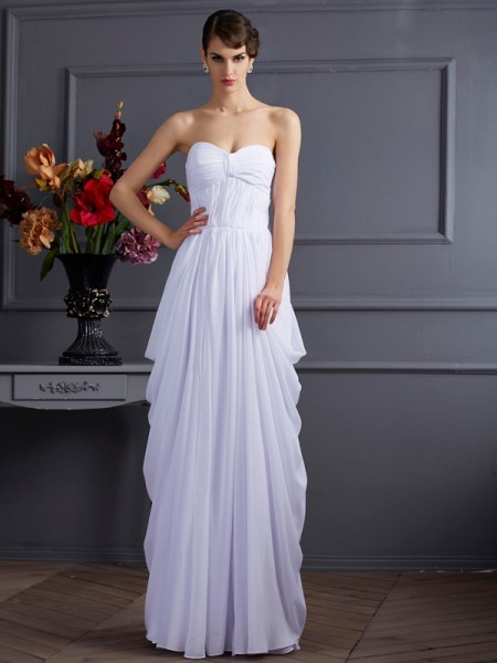 Sheath/Column Chiffon Sweetheart Floor-Length Pleats Sleeveless Dresses