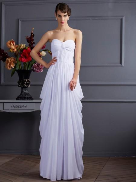 Sheath/Column Chiffon Sweetheart Floor-Length Pleats Sleeveless Dresses