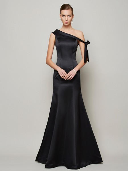 Trumpet/Mermaid Satin One-Shoulder Floor-Length Bowknot Sleeveless Dresses