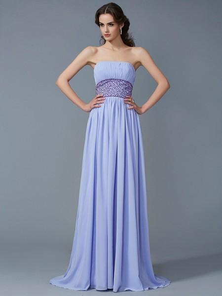 A-Line/Princess Chiffon Strapless Sweep/Brush Train Beading Sleeveless Dresses
